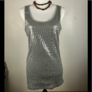 Charlotte Russe Tank Top Sequin Cotton Gray Large